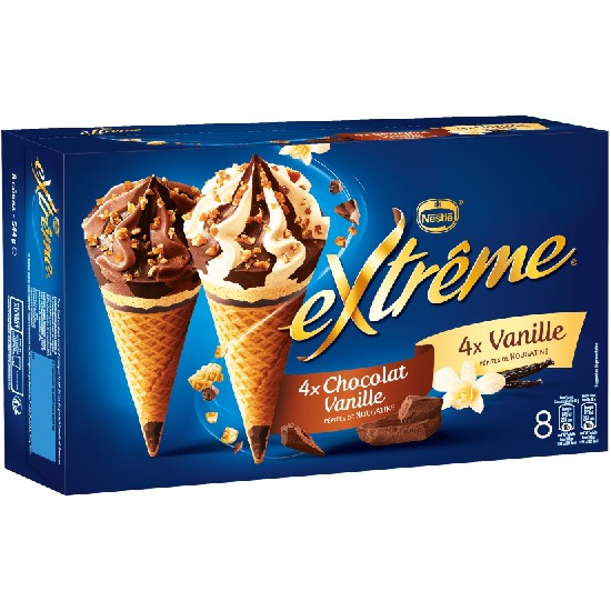 Extrême Cônes Panaché Vanille et Chocolat Vanille