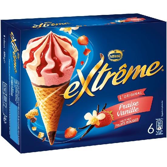 Extrême Cônes Vanille Fraise Sauce Fruits Rouge