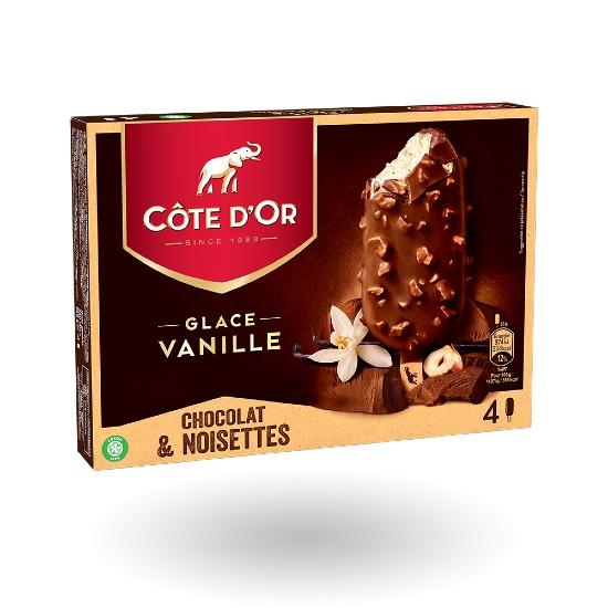 Côte d'Or Vanille, enrobage Chocolat et Noisettes 90ml