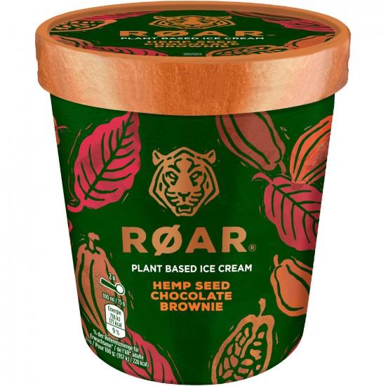 Pot Roar Glace Chocolat Morceaux Brownie Graines de Chanvre 500ml